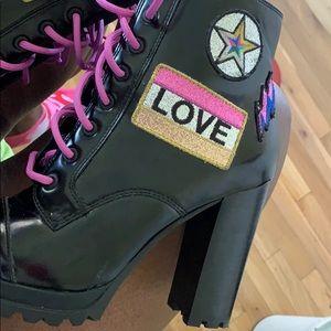 Black Heeled ankle booties . .